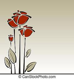 floral, rosas, vetorial, fundo, elegante