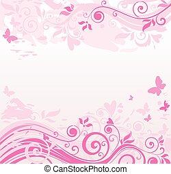 floral, rose, frontière