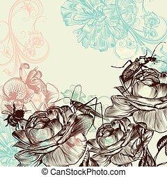 floral, rose, mode, fond