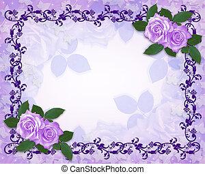 floral, roses, frontière, lavande