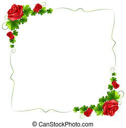 floral, roses, frontière, rouges