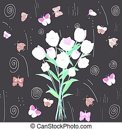 Floral round butterflies frame with tulips.