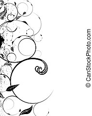 floral round - Floral inspired background in stark black and...