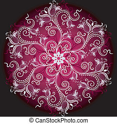 Floral round frame - Purple, white and black round floral...