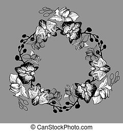 Floral round frame from tropical flowers orchid drawn by hand.