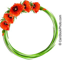 Floral round frame with red poppies. Vector background