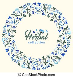 Floral round frame, Jacobean style flowers wreath