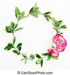 Floral round frame of roses and green leaves on white background. Flat lay, top view. Flower composition