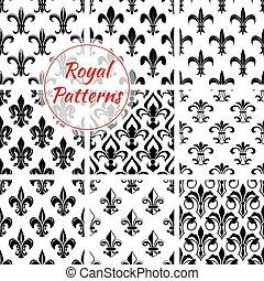 Floral royal fleur-de-lis vector patterns set