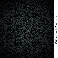 floral, royal, papier peint, noir