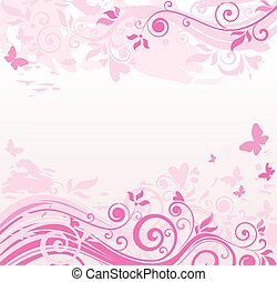 floral, roze, grens