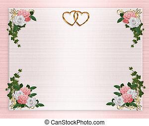 floral, roze, trouwfeest, grens, uitnodiging