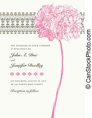 floral, roze, vector, achtergrond