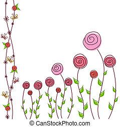 floral, rozen, achtergrond