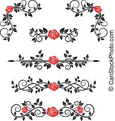 floral, rozen, embellishments