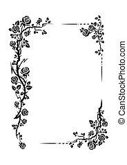 floral, rozen, frame, decor