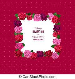floral, rozen, frame