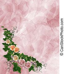 floral, rozen, grens, klimop