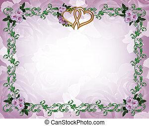 floral, rozen, grens, lavendel, uitnodiging