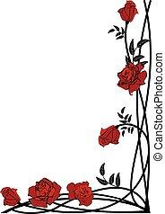 floral, rozen, grens