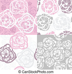 floral, rozen, set, seamless, model