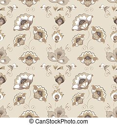 Floral Russian pattern in beige color scheme