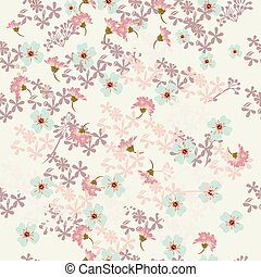 Floral rustic pattern with pink and blue flowers