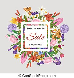 Floral sale banner and garden flowers special order vector illustration. Flowers for summer sale. Floral lettering wreath with colorful lily, jonquil and iris.