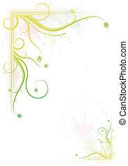 floral, salpicar, marco, colorido