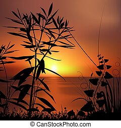 Floral scenery 01 - highly detailed plant silhouette & coloured sky scenery
