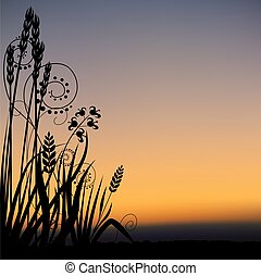Floral scenery 05 - highly detailed plant silhouette & coloured sky scenery