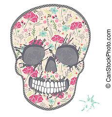 floral, schattig, schedel, model
