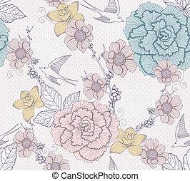 floral, schattig, seamless, model
