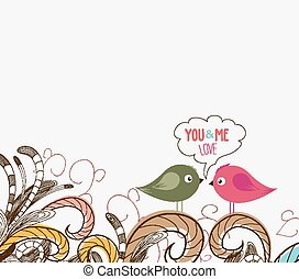 floral, schattig, vogels, paar, doodle