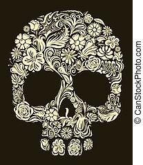 floral, schedel
