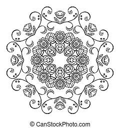 floral, schets, ornament