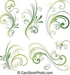 floral, scroll, ornamento