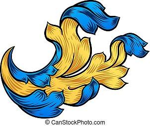 Floral Scroll Pattern Filigree Heraldry Design