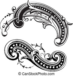 Floral Scrolls - Vector Floral Elements. Colors are easily...