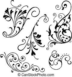 floral, scrolls
