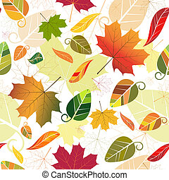 Floral seamless pattern of colorful leaves (vector)