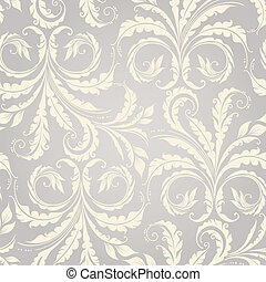 Decorative floral seamless pattern with plants and leaves