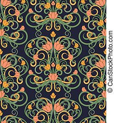 Floral seamless background in art nouveau style, vector illustration