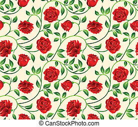 Floral seamless background. - Roses seamless background -...