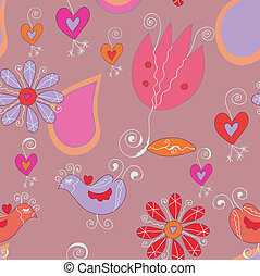 Floral seamless background with birds