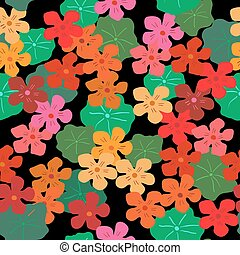 Floral seamless background with bright nasturtiums on a black background