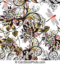 Floral seamless background  with hand drawn flowers vintage style.eps