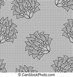 Floral seamless black and white pattern