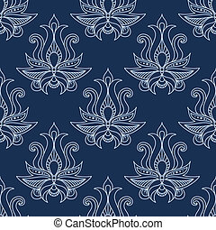 Floral seamless blue paisley pattern
