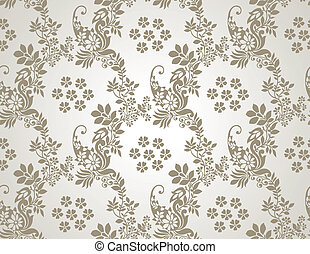 floral, seamless, dorado, papel pintado